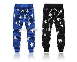 Wholesale Women Baggy Dance Pants - Wholesale-Men women Star Hip Hop Sweat Pants Harem Dance Jogger Baggy Trousers Slacks Jogging Sport Pants black blue