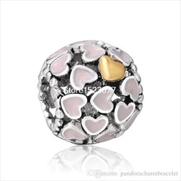 Wholesale Pink Lampwork - 925 Sterling Silver Fashion Authentic Unique Lots Pink Lampwork Hearts European Charm Bead For Snake Bracelet Chain Diy Jewelry