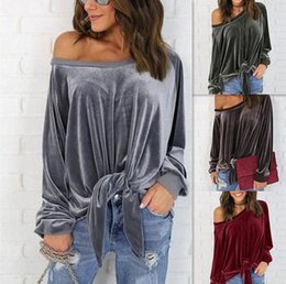 Wholesale shirts mujer - Sexy Off Shoulder Blouse Shirt Spring Autumn Long Sleeve Solid Color Tunic Shirt Velvet Tops Camisas Mujer