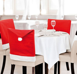 Wholesale Red Figurine - 2015 New 100pcs Christmas Santa Clause Hat Chair Covers for Hotel Cafe Party Dinner Decor Home Decorations Christmas Chair
