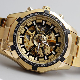 Wholesale Women Mechanical Watch Sale - Wholesale-Hot Sale Luxury Golden Luminous Automatic Mechanical Skeleton Dial Stainless Steel Band Wrist Watch Men Women Best Gift M106-1