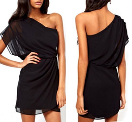 Wholesale Cheap White Chiffon Fabric - Black Sexy One Shoulder Cocktail Dresses 2015 Ruched A line Mini Chiffon Fabric Party Dress Custom made Cheap On Sale