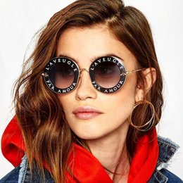 Wholesale Transparent Lenses - Fashionable Round Alphabet Sunglasses Girl Famous Brand Transparent Lenses Gradually Changing Color Glasses Pink Lovely Metallic Sunglasses