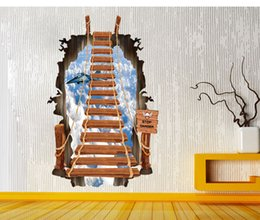 Wholesale Removable Stickers Aircraft - Creative Personality 3D Staircase Wall Stickers Ladder Sky Aircraft For Living Room Decoration Pvc Wall Decals For Home Decor Wall Papers