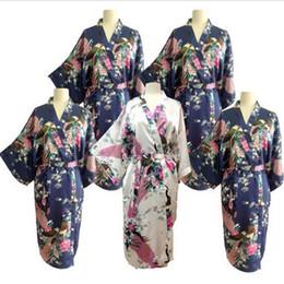 Wholesale Wholesale Kimonos - Wholesale-New Silk Wedding Robes Bathrobe Women Silk Robes For Bridesmaids Long Bathrobe Kimono Dressing Gown Peignoir Femme Bridesmaids