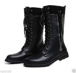Wholesale Goth Heels - Punk Rock MENS BLACK GOTH PUNK ROCK BAND Martin men's boots