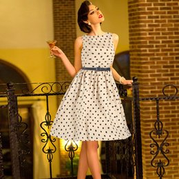 Wholesale Dots Polka Waist Dress - New style ladies elegant atmosphere dress Hepburn wind round neck sleeveless waist dress Polka Dot Belt WQ0895