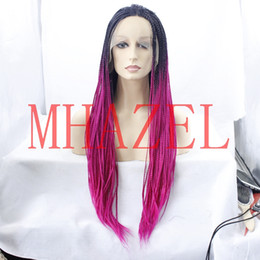 Wholesale Two Tone Pink Roses - box braided ombre 1b# rose pink hair synthetic glueless wig for fashion lady two tone braided
