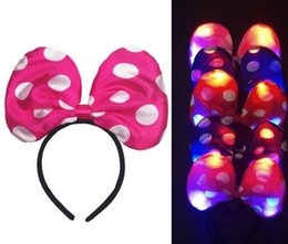 Wholesale Led Light Headwear - Children Party led flash headwear cartoon headband men women COS mickey Minnie hoop Big bowknot hair band event festive supplies led lights