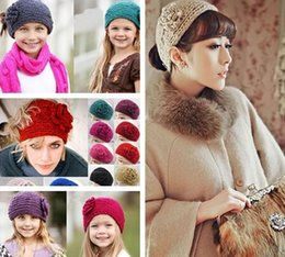 Wholesale Heart Knit Headband - 24 color knitting wool Woolen Crochet hair band winter warm camellia Flower women girl children Headbands headwear fashion