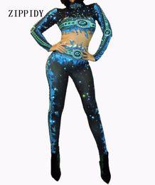 Sexy Blue Rhinestone mono Sexy Discoteca Dance Wear Body Leggings Prom elebrate Outfit Performance Dress desde fabricantes