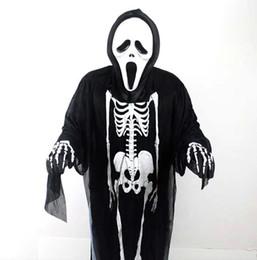 Wholesale Ghost Dresses - 10pcs Performance Costume Human Skeleton Mantle Fancy Dress for Halloween Days Ghost Cloak