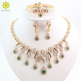 Wholesale Wedding Dress Green China - Gold Plated Crystal African Beads Jewelry Sets For Women Dress Accessories Wedding Bridal Green Zircon Necklace Earrings Set