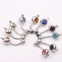 Wholesale Fashion Belly Rings - Stainless steel belly navel ring B010 mix 8 color 50pcs lot fashion navel ring navel button ring belly bar body piercing jewelry
