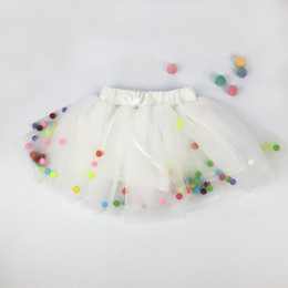 Wholesale girls layered skirts - DY0003 Girls Layered Soft Tutu Skirt Pure Color Small Ball Design Kids Adorable Multi-color Princess Short-Skirt 2017 Ins Fashion
