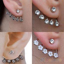 Wholesale Diamante Flower Earrings - 1 PC Women Hot 2016 New Silver Star Rose Flower Diamante Crystal Ear Cuff Cartilage Stud Earring 0148