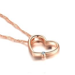 Wholesale 925 China Diamond Earrings - Hot sale 925 silver items crystal jewelry heart diamond shaped pendant statement necklaces rose gold color vintage charms Free DHL