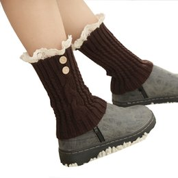 Wholesale Crocheted Boots For Girl - Wholesale-Winter Women Knitted Sock Leg Warmers for Girls Ladies Legwarmers Womens Crochet Knit Lace Boot Socks Covers Accessories JT6025