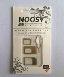 convertire d'oro Sconti DHL all'ingrosso-libero 2000pcs / lot Adattatori nano SIM Noosy oro convertono IP 4 / 4s / 5 / 5s in per S3 / S4 / Note 4 3 con pin di espulsione