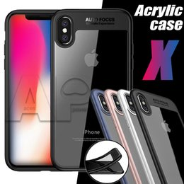 Wholesale Iphone Red Back - For Iphone X 10 8 7 Plus Phone Cases Back Cover Acrylic Case PU Clear Shockproof Protector
