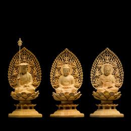 Japon exquis sculpture Bouddha statue déesse Western Trinity en bois massif artisanat Feng shui Décoration sculpture sur bois décoration de la maison ? partir de fabricateur