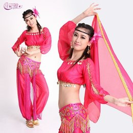 b3ef9c1414 2019 New Indian Belly Dance Dress Performance Costumes Knickers Sequined  Stage Wear with Waist Chains 3 Pieces Suit A0327