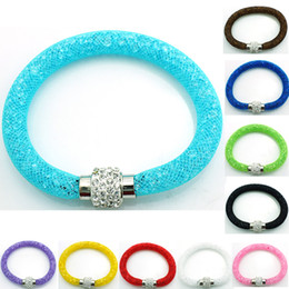 Wholesale mesh chain bracelets - Wholesale Newly Charm Bracelets 10 Color Crystal Mesh Magnetic Clasp Infinity Link Bracelets&Bangles Jewelry Mix Order