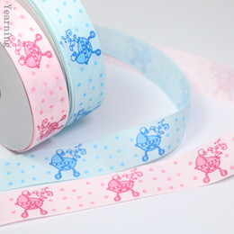 Wholesale Tape For Fabric - zd155 Wholesale Width 25mm Craft Fabric Tape Single-face Baby Carriage Cartoon Grosgrain Ribbon for Gift Packaging DIY Headwear 100yards lot