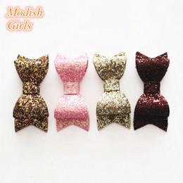 Wholesale big red hair bows - Big Bows 8.8*3.4cm Hair Accessories 20pcs lot Wholesale Bestseller Glitter Felt Hair Clips Bowknot Baby Shinning Barrettes Girls Hairpins