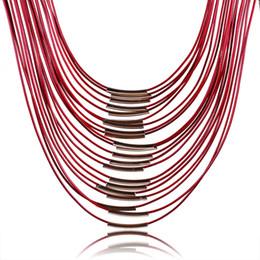 Wholesale Leather Bib Necklaces - 2015 Statement Necklaces Jewelry Tassel PU Leather Necklaces For Women Bib Necklaces 42cm 10 pcs sale