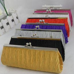 Wholesale Wedding Bangs - Fashion Evening Bags Satin Pleated Ruched Ladies Purse Bridal Wedding Bangs Women Handbag Party Club Supplies Clutches Bag