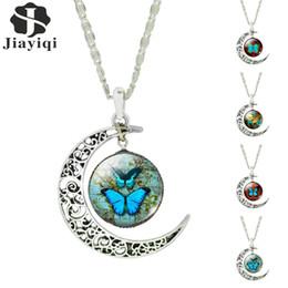 Canada Sterling Silver Jewelry Vintage Fashion Lune papillon Collares pour collier pendentif femme romantique Déclaration Verre Cabochon Offre