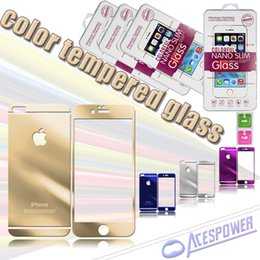 Wholesale Colorful Glass Iphone - For iphone7 plus 5.5 inch Front And Back Mirror Premium 2.5D 0.3mm Tempered Glass Film Colorful Screen Protector Color