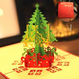 Wholesale Vintage Greetings Cards - Merry Christmas Tree Vintage 3D laser cut pop up paper handmade custom Creative greeting cards Christmas gifts souvenirs postcards Wholesale