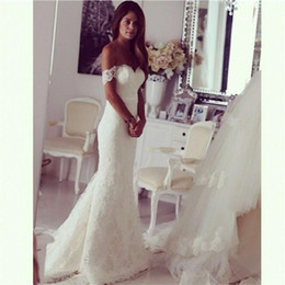 Wholesale Short Wedding Dress Long Tail - Wholesale Off The Shoulder Bridal Mermaid WEdding Dresses 2016 Lace Wedding dresses Fit and Flare Bustle Tail Wedding Dresses