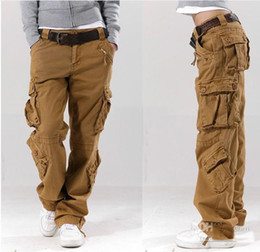 Wholesale Army Cargo Bag - Khaki women's overalls bags of the straight trousers casual pants hip-hop pants couple pants