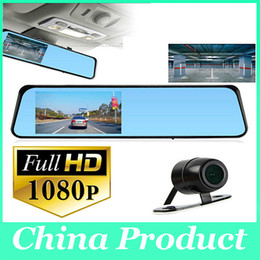 "Wholesale Car Mirror Lcd Wholesale - 4.3"" LCD Bule Screen HD1080P V180 Dual Lens Camera Rearview Mirror Viedo Recorder Car DVR Blackbox G-Senser 010227"