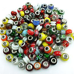 Wholesale Glass Circle Hole - 100 Pieces Lot Mix Slale Glass Beads Fashion Big Hole Murano Loose Beads Fit DIY European Bracelets Jewelry