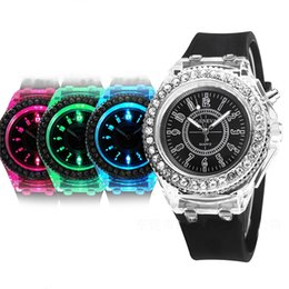 Wholesale Water Stone Color - Hot sales Geneva Diamond Stone Crystal Watch Silicone Led light Flashing Up Jelly Watch lot 50pcs Free Shipping Via DHL FEDEX EPACKET