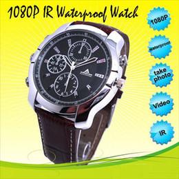 Wholesale Wrist Watch Camera Night - Waterproof Full HD watch camera IR night vision 8GB 16GB 1080P Mini Watch DVR audio video recorder leather wrist watch mini comcorder 10pcs