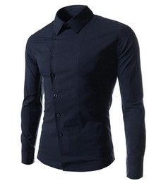 Wholesale Western Shirts Xl - 2015 new Men's Long Sleeve Solid Casual Shirt Slim Fit Casual Shirts Tops Western casual long-sleeved shirt buttons oblique shirts mens