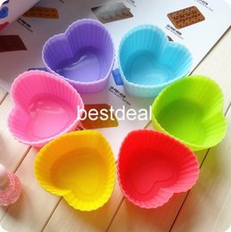Wholesale Silicone Heart Soap Mold - 2015 Heart style cake mold silicone cake mold Muffin love colors jelly cup pudding mold soap mold ice tray hot sales free shipping