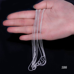 Wholesale Sterling Silver Pendant Clasp - New 20inch Bead Ball Links Real 925 Sterling Silver Chain Lobster Clasp Fine Necklace Pendant DIY Jewelry Free Shipping SH6-20inch