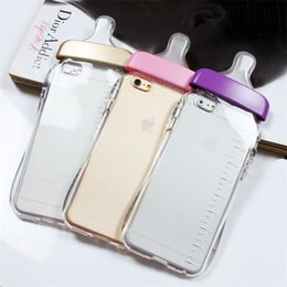 Wholesale Transparent Milk Fittings - Transparent Cute Cartoon Baby Nipple Milk Bottle Mobile Phone Case Lifting Rope for Iphone 5 5S 6 6PLUS Clear TPU Phone Back Cover
