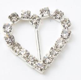Wholesale Silver Wedding Supplies - 60pcs lot 10mm Bar 20mm Small Heart Rhinestone Buckles Invitation Ribbon Slider Wedding Supply Supplies Weddings Events