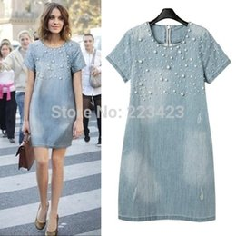 Wholesale Dresse Women - 2015 new fashion women o-neck Washed Loose denim dress plus size Jeans Evening Party Lady Dresse Casual Washed Beaded 3X 4XL 5XL