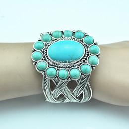 Wholesale Look Bracelet - Wholesale-B84 Flower Turquoise Bracelet 77g PC Vintage Look Tibetan Alloy Antique Silver Turquoise(not plastic or resin)Bangle Jewelry