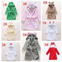 Wholesale Cotton Flannel Nightgowns - Baby k cotton flannel nightgowns child night-robe kids bathrobe cute cartoon bath towel hooded kids warm winter animal Sleepwear KKA3309
