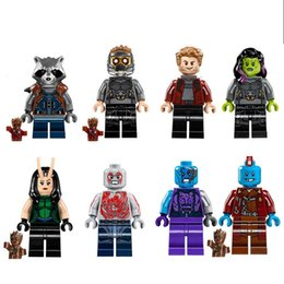 Wholesale Rocket Plastic - Building Blocks Minifigures Action Bricks Guardians of the Galaxy Rocket Racoon Star Lord Gemora Mantis Kids Christmas Toys 8pcs set PG8044
