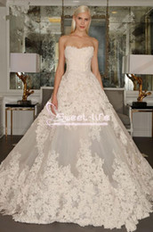Wholesale Cheap Real Designer - Fashion Designer Cheap 2017 Ball Gown Wedding Dress Plus Size Sweethert Lace Applique Backless Court Train Turkey Bride Bridal Gowns